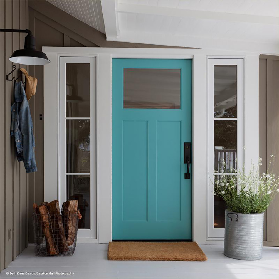 turquoise wood front door