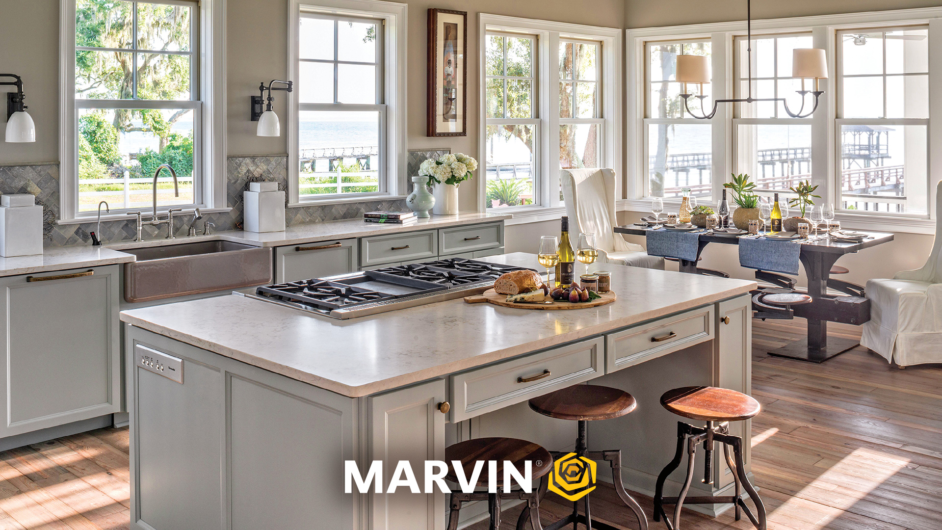 Neutral kitchen with Marvin Elevate double hung windows