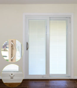 Provia patio door with internal blinds and decorative handle and foot lock